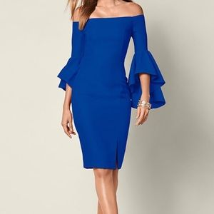 Venus Blue Ruffle Off-The-Shoulder Bodycon Dress